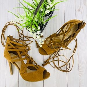 New York & Company Tan Lace Up Caged Tassel Sandal